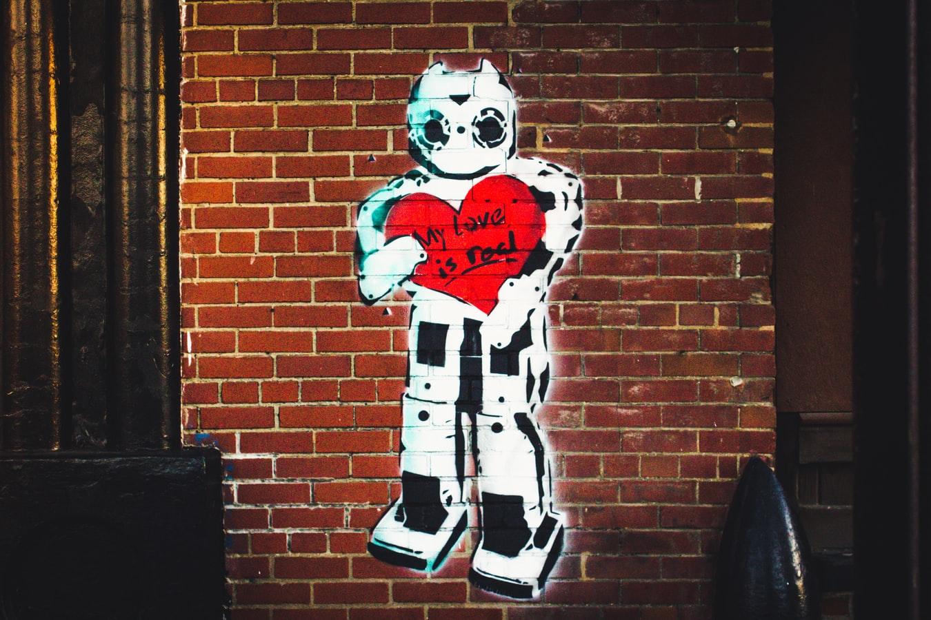 Street Art Roboter mit Herz