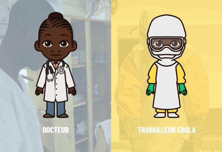 Illustrierte Ärztin im Kittel und im Schutzanzug
