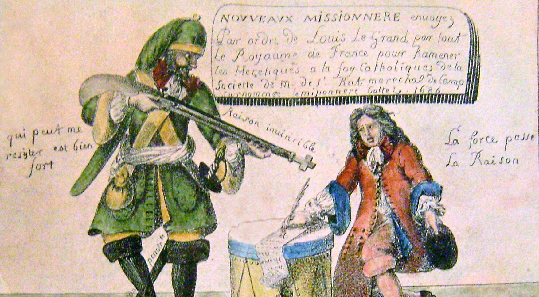 Gravur, auf der die drakonischen Strafmassnahmen unter Louis XIV., genannt Dragonnades, als Personen dargestellt werden.