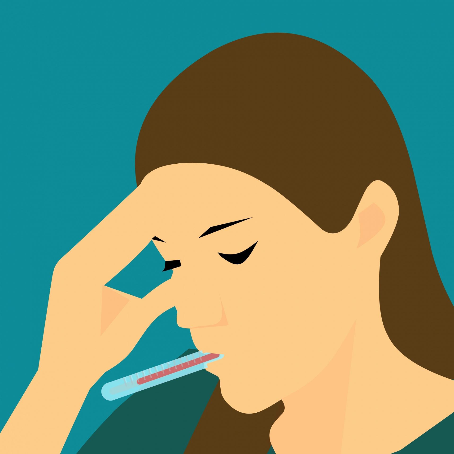 Illustration einer Frau mit Fieberthermometer im Mund