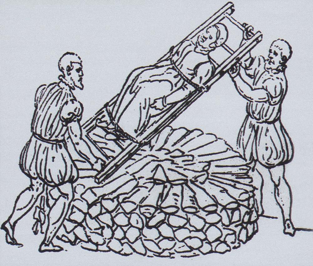 Vorbereitung für eine Hexenverbrennung. Holzschnitt eines unbekannten Künstlers.