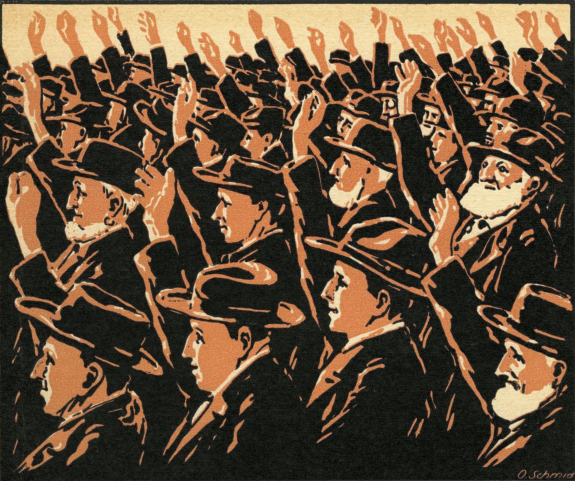 """Linolschnitt """"Männer an der Landsgemeinde"""""""
