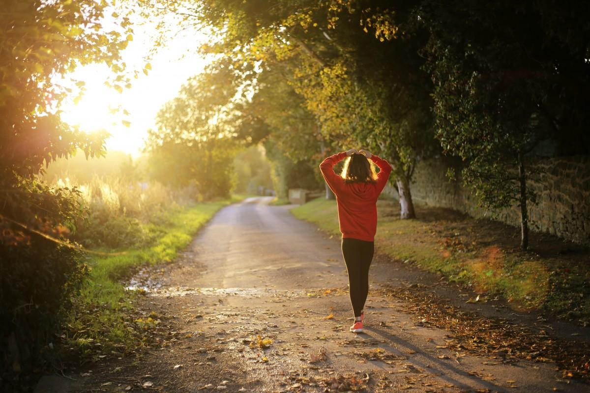 Eine Frau in Laufkleodung geniesst auf- oder untergehende Sonne auf einem Waldweg.
