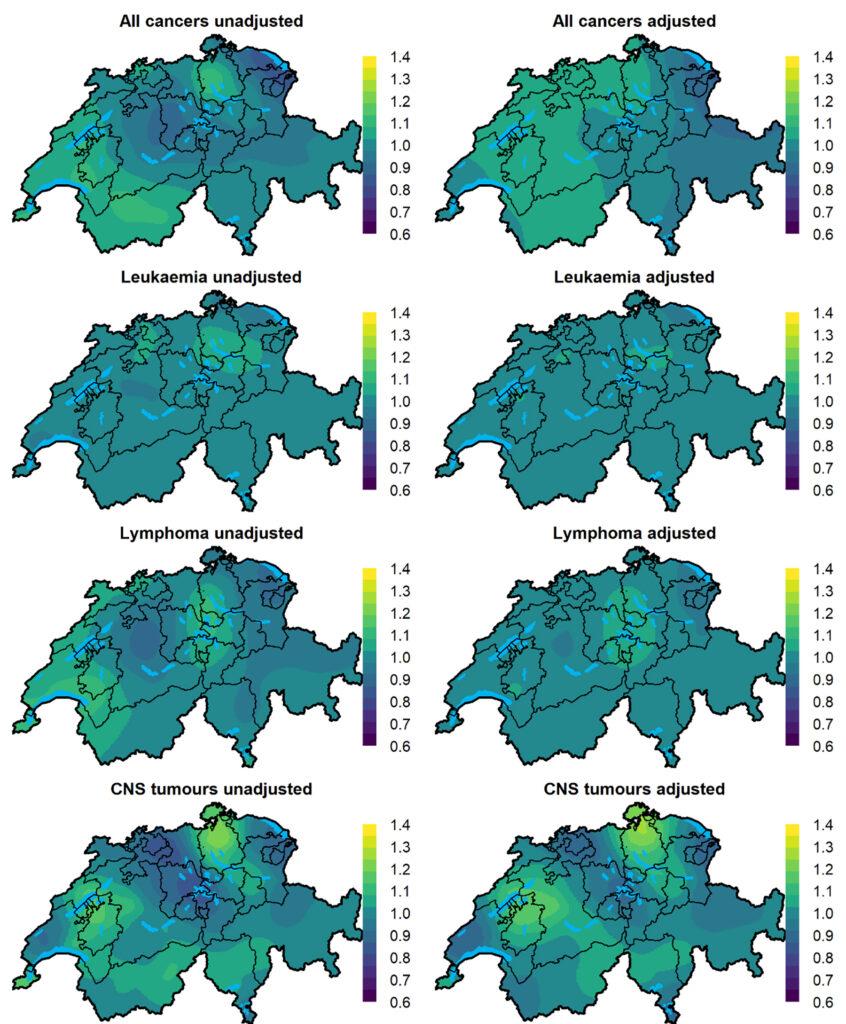 Kartenübersicht über Krebsarten bei Kindern in der Schweiz