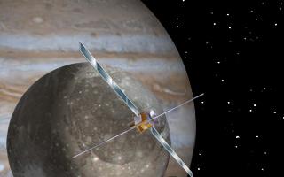 Künstlerische Darstellung der Sonde Juice vor Ganymed und Jupiter