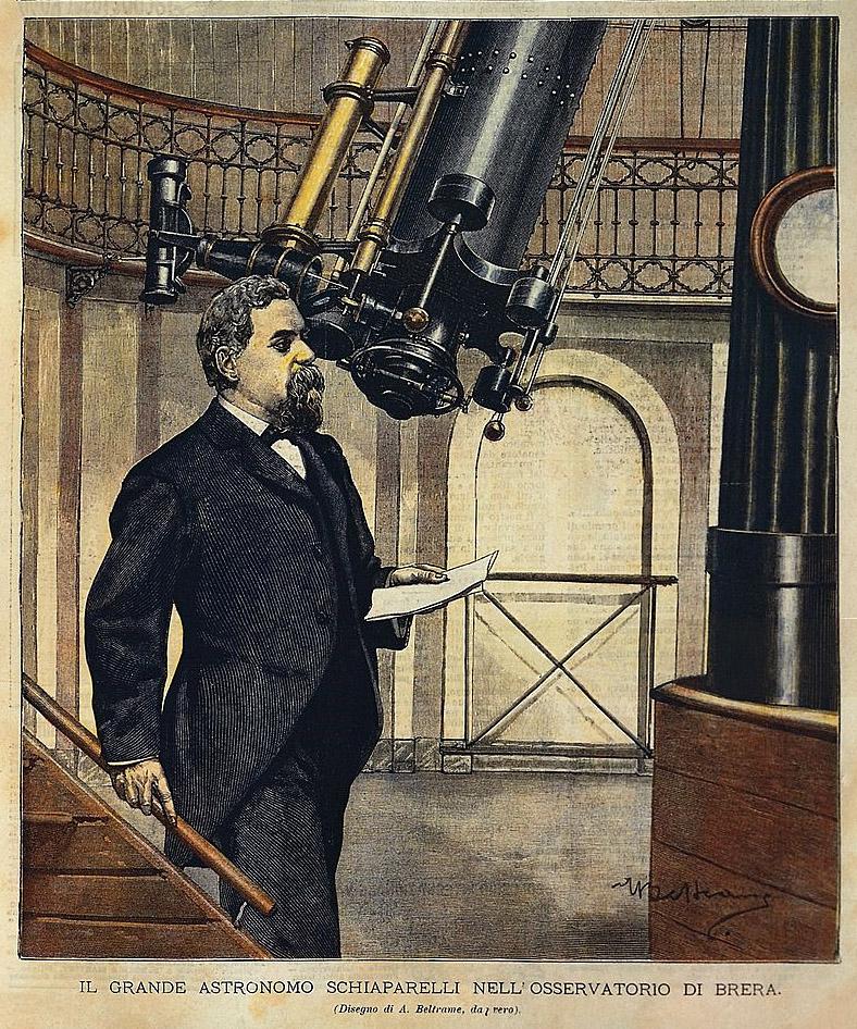 Astronom Giovanni Schiaparelli vor einem Teleskop im Jahre 1900.