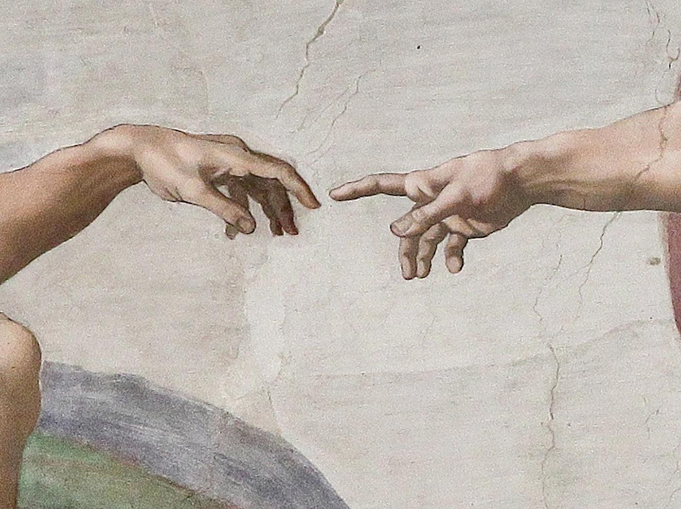 die sich berührenden Finger aus dem berühmten Michelangelo Gemälde