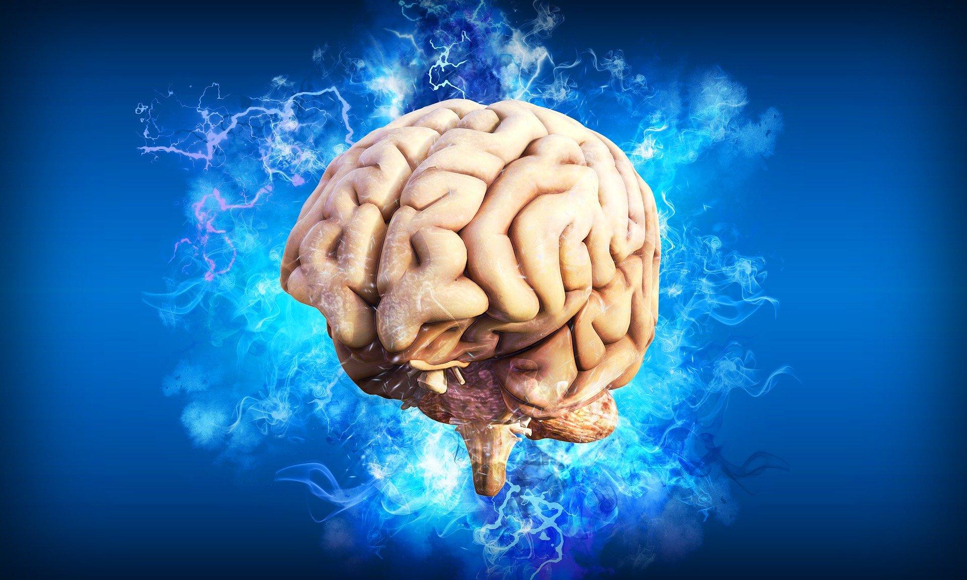 Illustration eines Gehirnes, das von hellblauen Blitzen umgeben ist