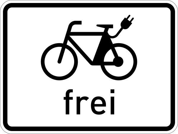 Verkehrschild mit einem Piktogramm eines E-Bikes, das besagt, dass E-Bikes hier erlaubt sind.