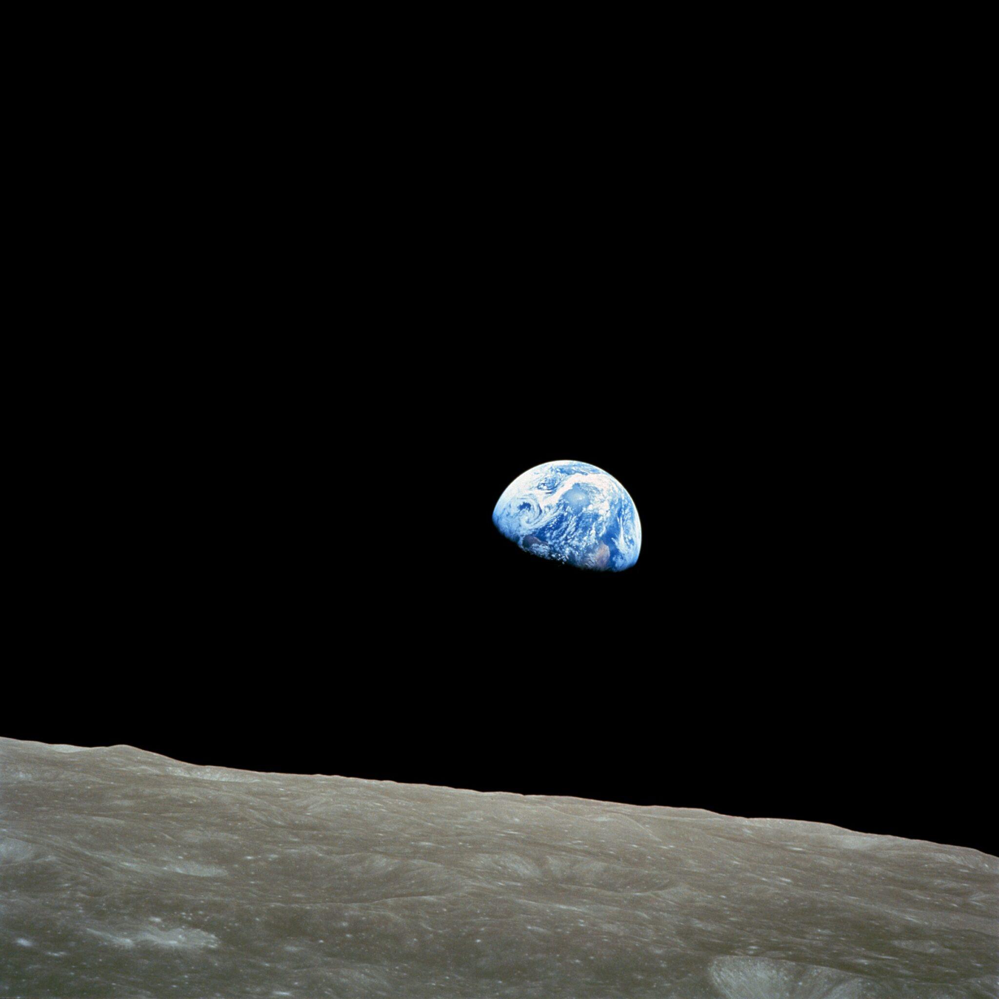 Die Erde vom Mond aus fotografiert.