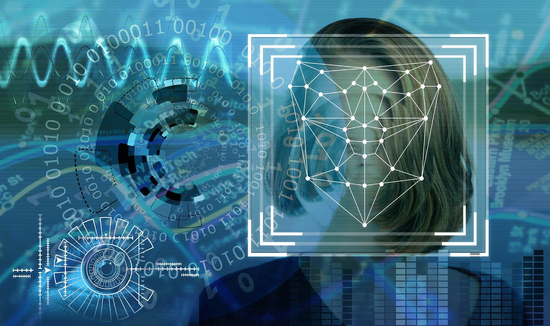 Ein Frauenkopf vor blauem Hintergrund mit allerlei Computersymbolik, die Analysen suggerieren sollen.