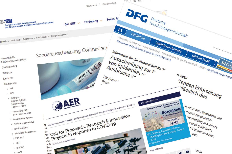 Websites des SNF, der DFG und AER
