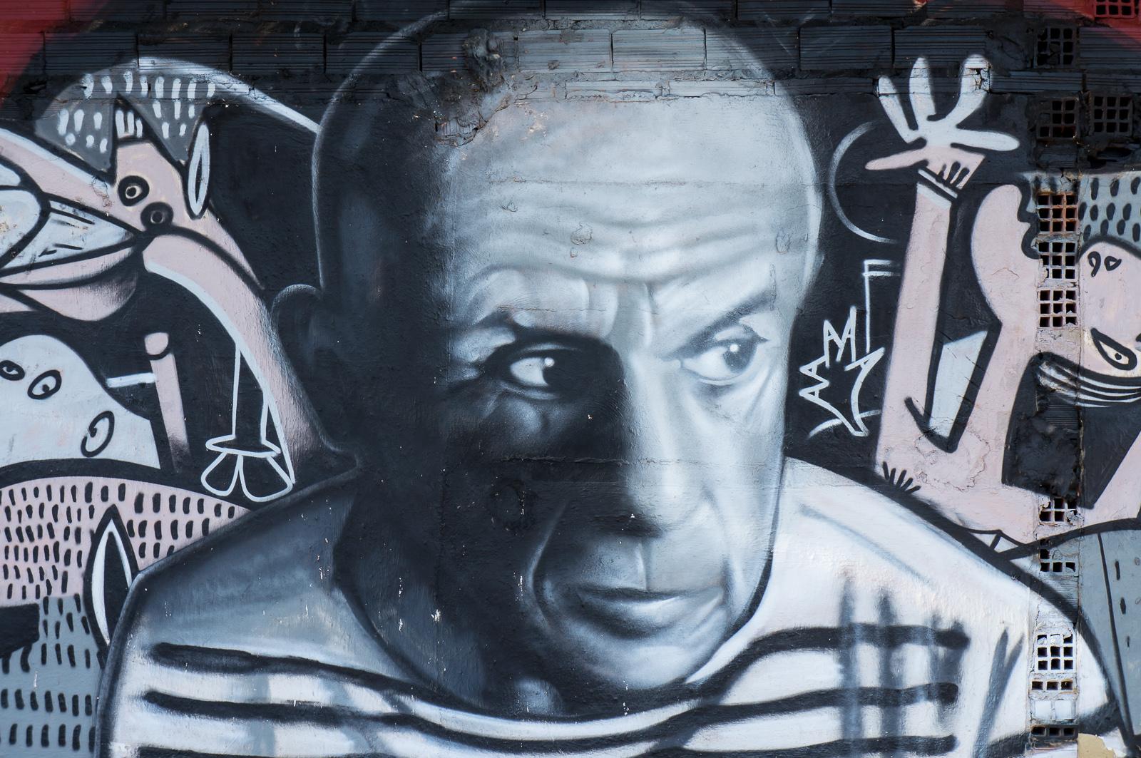 Streetart-Porträt von Pablo Picasso in València.