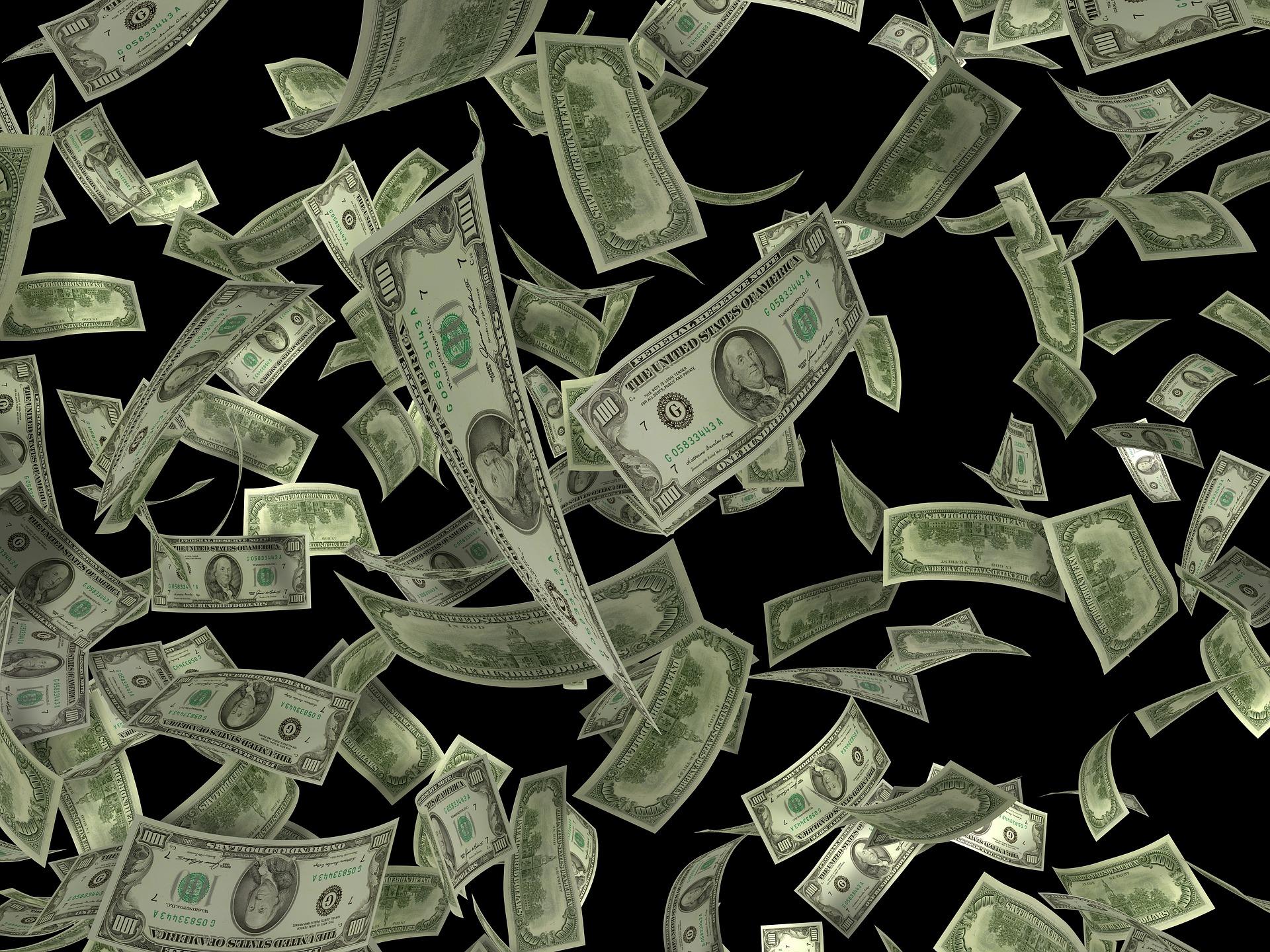 Es regnet Hundertdollar-Noten