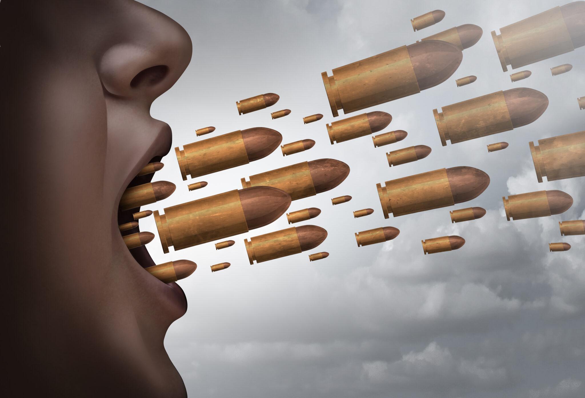 Illustration: Patronen schiesse aus einem sprechenden Mund