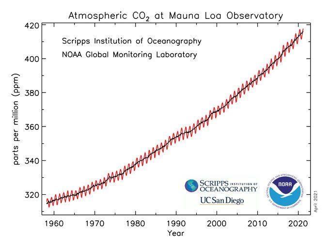 Graph, der die Geschwindigkeit des Anstiegs von CO2 in der Atmosphäre zeigt.