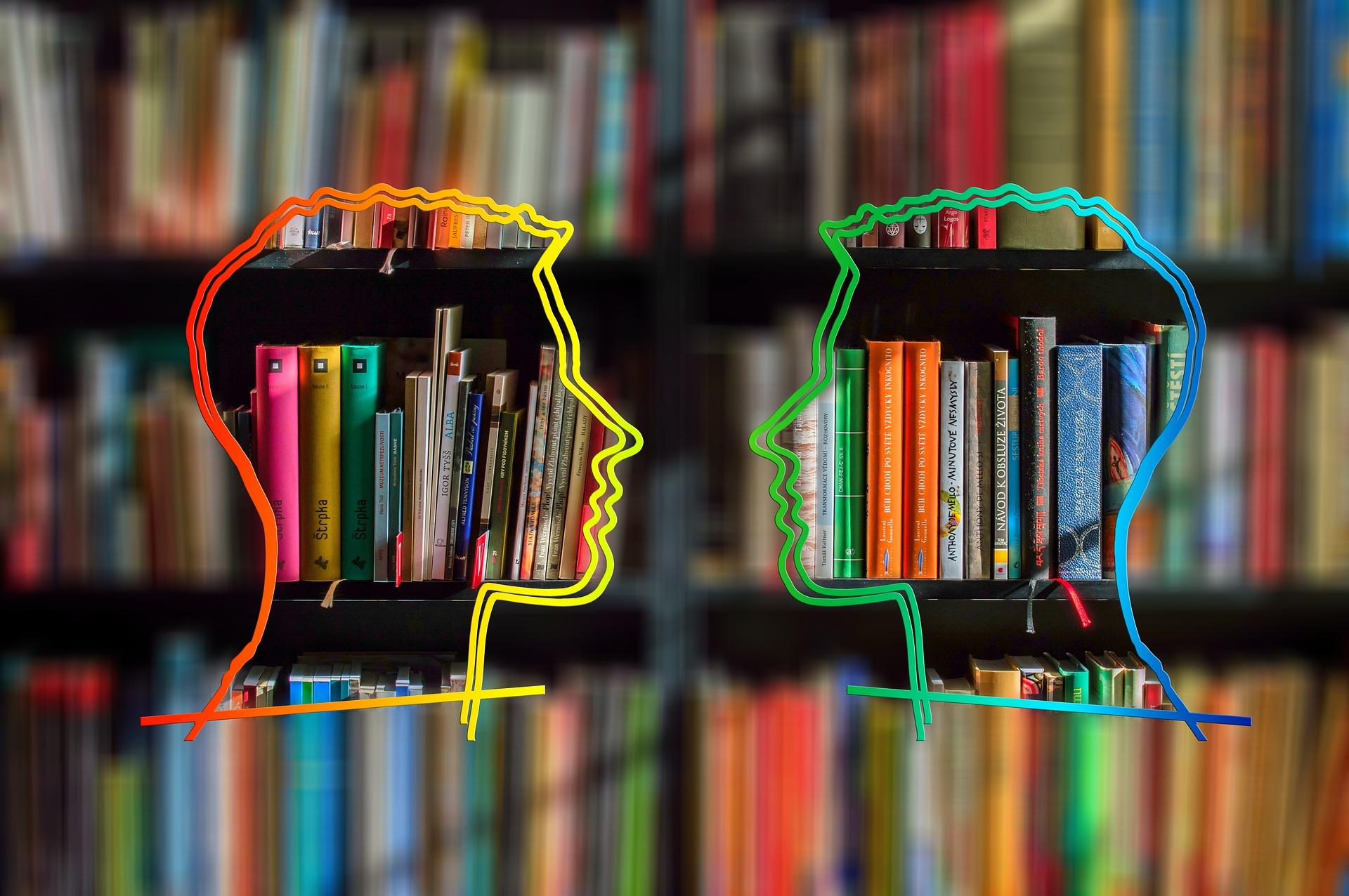 Silhouette von diskutierenden Köpfen vor Bücherregal