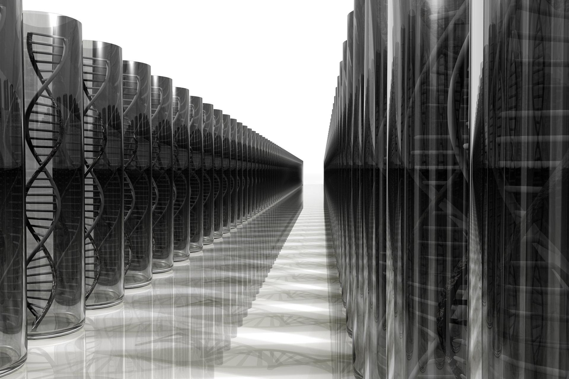 Illustration von mehreren schwarzen Säulen mit DNA-Doppelhelix