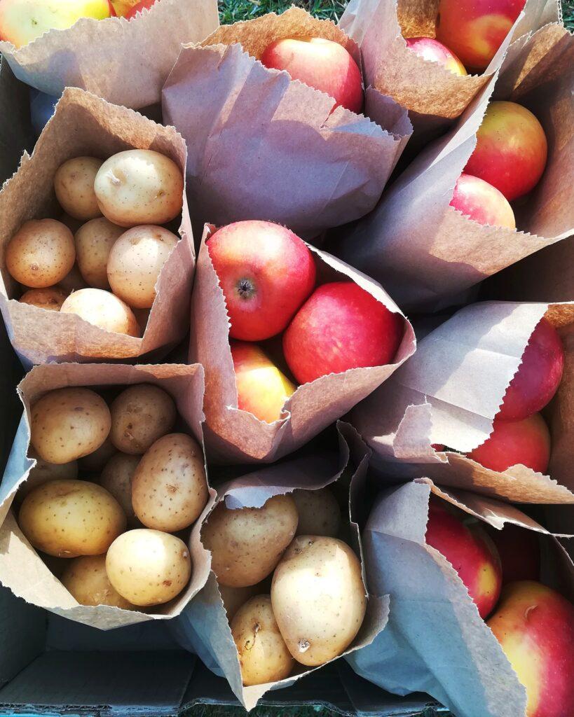 Äpfel und Kartoffeln in Papiertüten