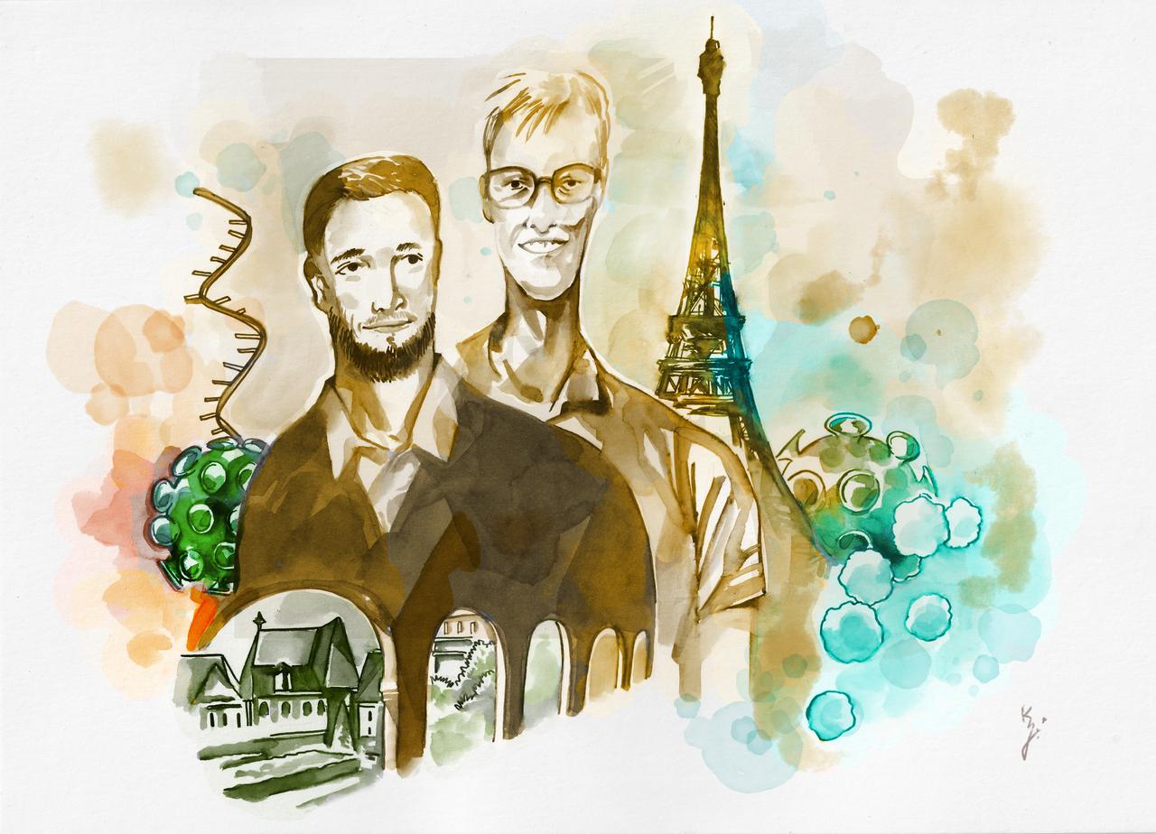 Illustration von Pierre Meulien und Frédéric Martinon mit Eiffelturm im Hintergrund.