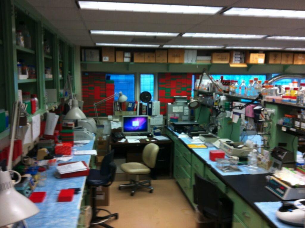 Leicht verschwommenes Bild eines Labor-Arbeitsplatzes