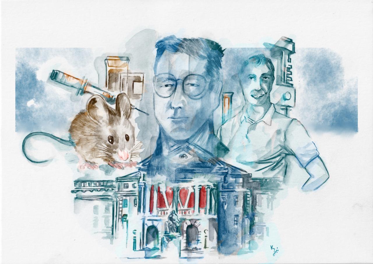 Illustration von Jon Wolf und Phil Felgner, einer Maus und einer Spritze
